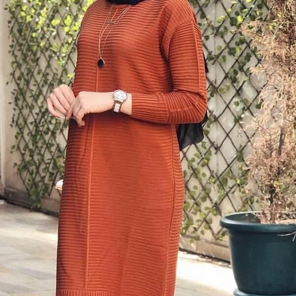 Tunique Pull longue en maille Tricot Maroc orange zoom