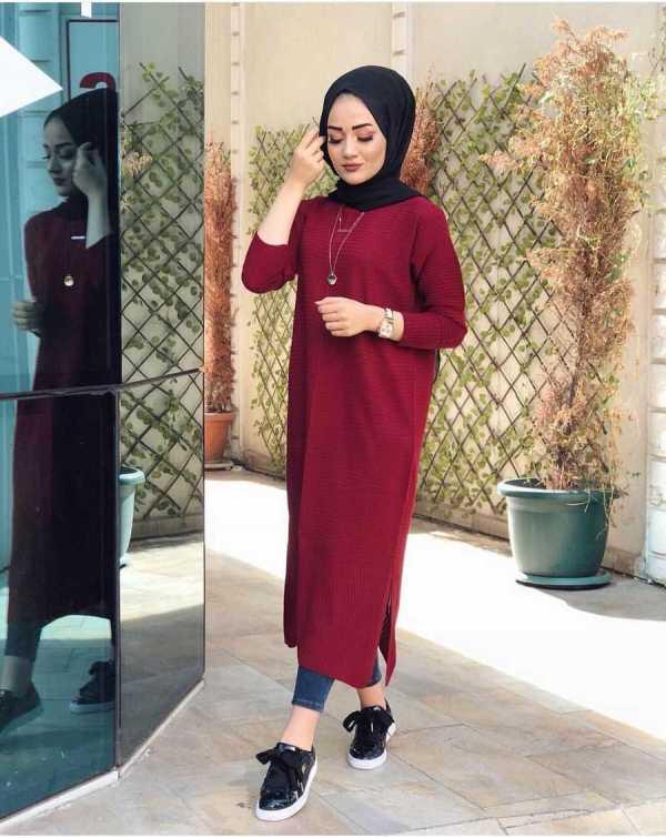 Tunique Pull longue en maille Tricot Maroc rouge