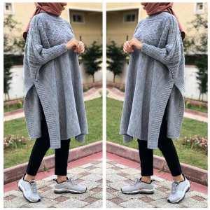 cape tricot femme maroc carreaux gris