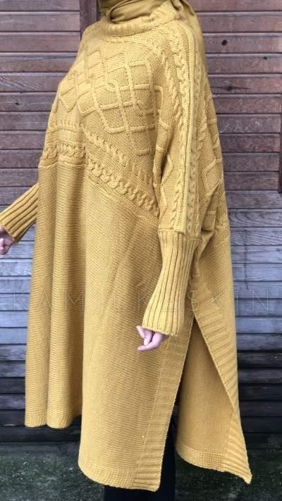 cape tricot femme maroc carreaux jaune2