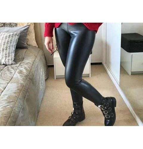 legging simili cuir maroc noir