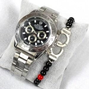 Reproduction Montre Rolex Daytona argenté Noir + Bracelet Menottes - E Achat Maroc