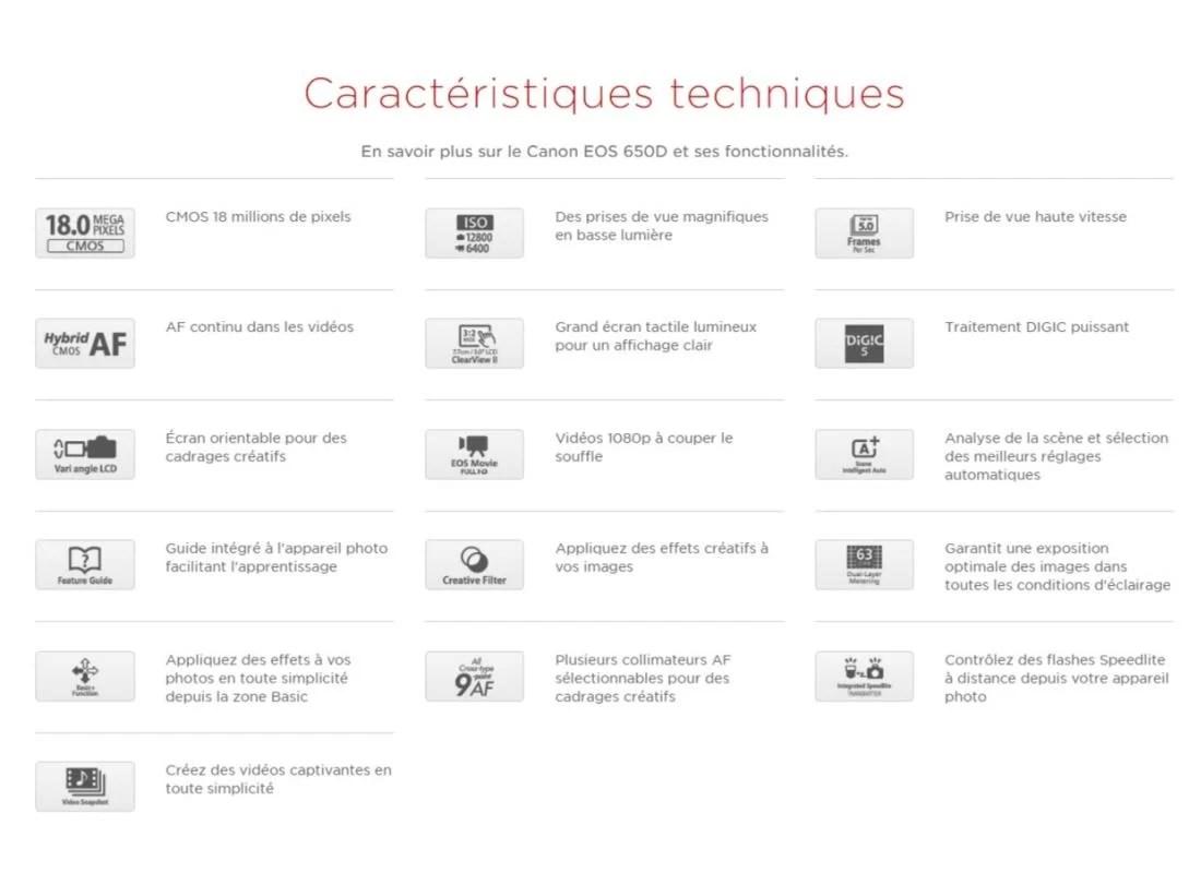 Canon EOS 650D caracteristique - CANON EOS 650D Bonne Occasion Comme neuf  + Objectif 18-55 mm