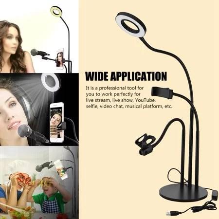 Maroc Bureau Ring Light Anneau lumineux LED 3 en 1 avec Support de Téléphone + Support de Microphone
