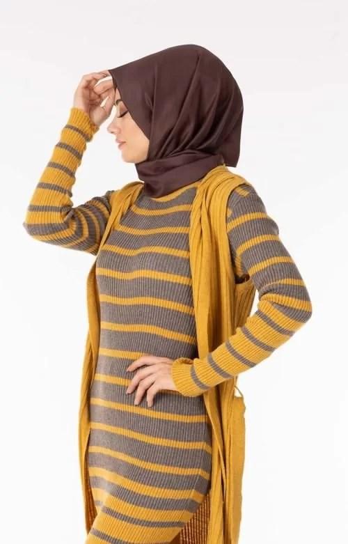Ensemble 2 Pièces Longue Robe Tricot Rayé Gris Jaune avec Gilet - تريكو تركي أنصومبل 2 بياس Maroc ventement femme hijabe livraison