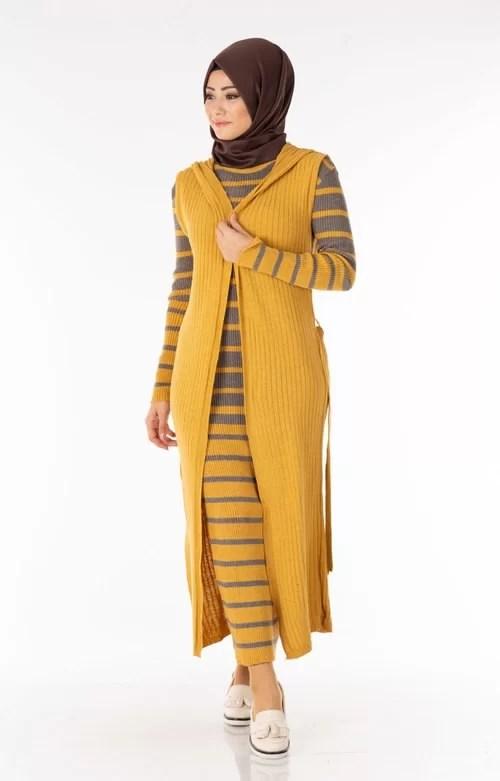 Ensemble 2 Pièces Longue Robe Tricot Rayé Gris Jaune avec Gilet - تريكو تركي أنصومبل 2 بياس Maroc ventement femme hijabe solde