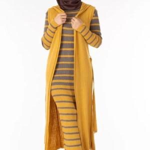 Ensemble 2 Pièces Longue Robe Tricot Rayé Gris Jaune avec Gilet - تريكو تركي أنصومبل 2 بياس Maroc ventement femme hijabe