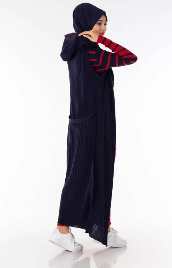 حوايج البرد Ensemble 2 Pièces Longue Robe Tricot Rayé Rouge Noir avec Gilet - تريكو تركي أنصومبل 2 بياس