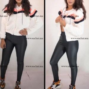 sweat tendance capuche tissus peluche solde maroc Blanc hiver peluche à manches longues pull Outwear