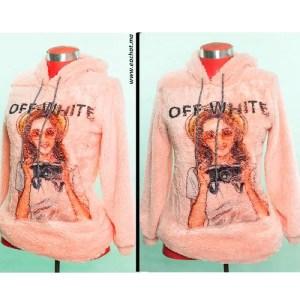 sweat capuche tissus peluche Off White solde maroc imprimé top hoodie rose