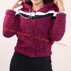 sweat capuche tissus peluche promotion solde maroc bordeaux hoodie