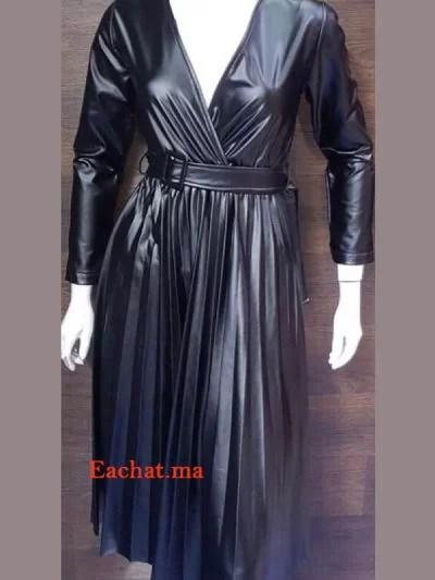 Robe Croisée Simili Cuir Tres Chic - Noir maroc