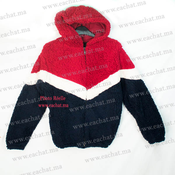 Sweat à Capuche en Peluche Polaire Chaud - Image Réelle - Taille Standard rouge