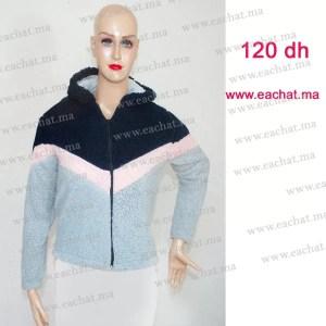 Sweat Capuche en Peluche Chaud - Image Réelle - Taille Standard gris bleu