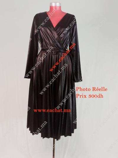 Robe jupe simili cuir Plissé - Robe Croisée Plissée Simili Cuir Tres Chic - Noir