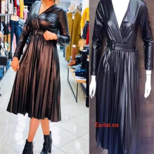 Robe Croisée Simili Cuir Tres Chic - Noir solde Maroc