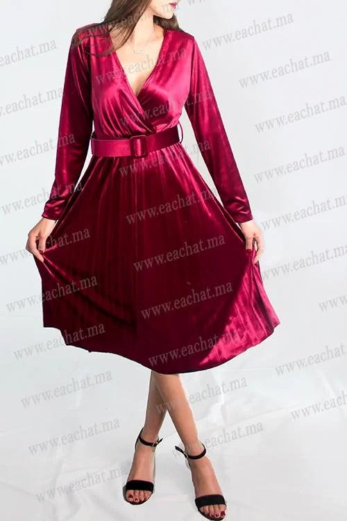 Robe Croisée Plissée En Velours (mobra) - Rouge Maroc Livraison Gratuite casablanca