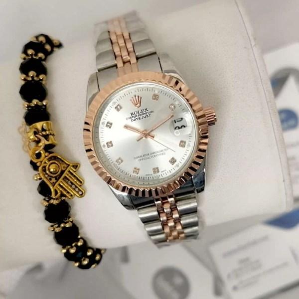 Reproduction Montre Rolex Datejust Bronze interieur Blanc + Bracelet maroc casablanca rabat tanger agadir