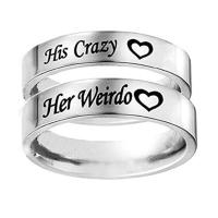 New Fashion His Crazy Her Weirdo Rings Stainless Steel