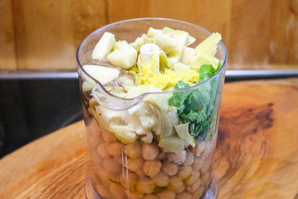 Artichoke Lemon Hummus Ingredients in Food Processor