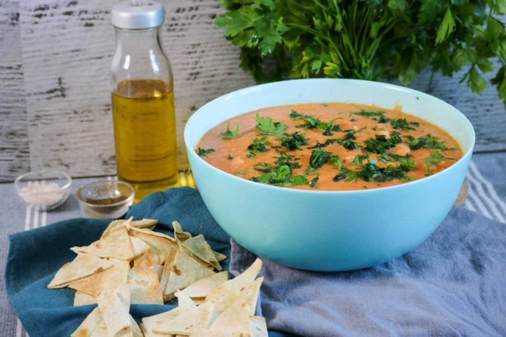 Serve with parsley and tortilla chips