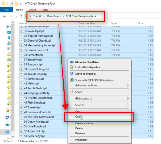 Let me show you how to load MT4 chart templates from external files. First, locate template files on your computer. In this example, I have all 50+ template files inside the MT4 Chart Template Pack folder. I select all files with the CTRL+A, right-click on them and choose Copy from the menu.