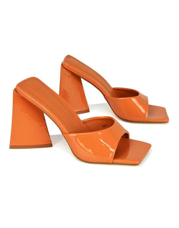 Orange Sculptured Heels GRACIA SQUARE PEEP TOE SCULPTURED FLARED BLOCK HEELED MULES IN ORANGE PATENT