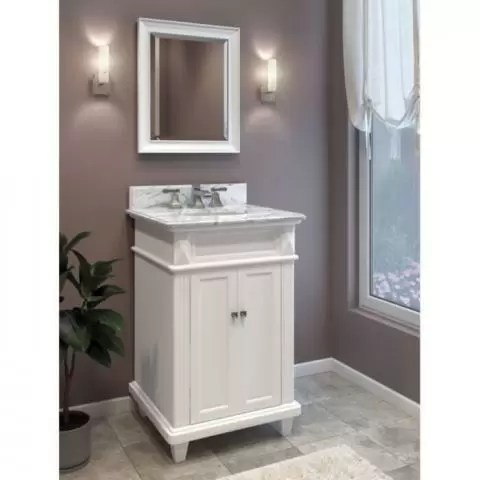 douglas white 24 bathroom vanity cabinet with white marble countertop and sink bowl elements