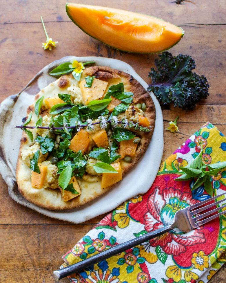 Vegan Cantaloupe Basil Flatbread Pizza