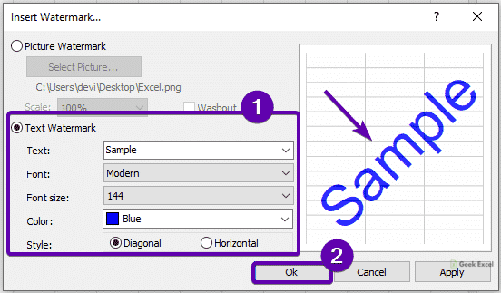 How to Insert or Remove Watermarks in Excel Office 365?