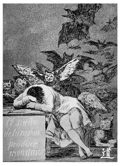 """Francisco de Goya """"El sueño de la razón engendra monstruos"""""""