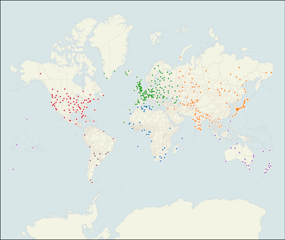 Map of the 443 stations in the subset