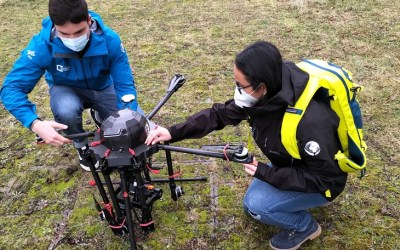 Our EAGLE students with UAV and field work jackets