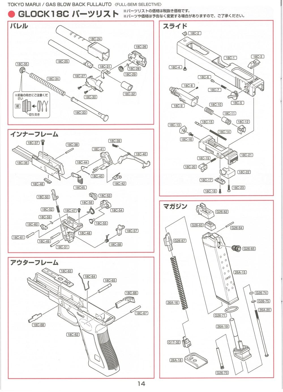 medium resolution of glock 18c gas blowback pistol parts diagram