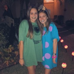 Sophomores Jenna Weissman and Helena Denny pose for a picture in their Halloween costumes. They dressed up as Mike and Sully from Monsters inc.