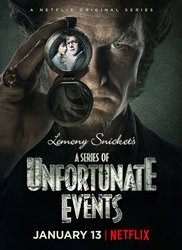 """""""A Series of Unfortunate Events"""" advertisement for the highly anticipated Netflix release. The poster features Count Olaf along with the Baudelaire children."""