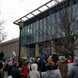 Protesters gather at the Monroe Park campus of Virginia Commonwealth University. Photo courtesy of anonymous protester and contributor