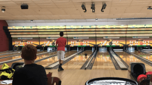 Sammy Feuerman looks on as the bowling ball approached the pins. Photo courtesy of Vanesa Fung