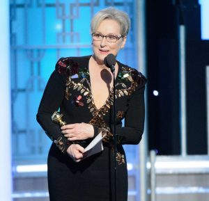 Meryl Streep accepts the Lifetime Achievement Award at the 74th Annual Golden Globe Awards at the Beverly Hotel Sunday on Jan. 8, 2017. Photo courtesy of HFPA/Zuma Press/TNS