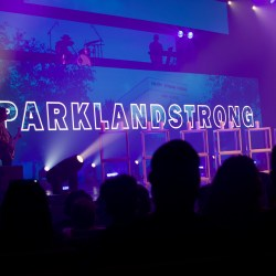 Church By the Glades prepares a background with #ParklandStrong after the massacre on Feb. 14. Photo by Christy Ma