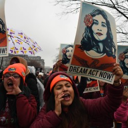Immigration activists demonstrate outside the Capitol on Wednesday, Feb. 7, 2018 in Washington D.C. as the Senate agreed to a deal to avoid a shutdown that does not include provisions for so-called Dreamers sought by Democrats. (Miguel Juarez Lugo/Zuma Press/TNS)