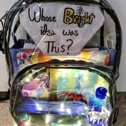 Student submits backpack design to @msdcamo2 Instagram account. Photo by Erika Rosen