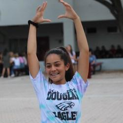 Junior Juliette Hoffiz practices yoga in the courtyard during lunch