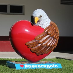 #NeverAgain. An eagle sculpture donated by a middle school art class in Miami, Florida stands 7 feet tall in the senior courtyard. Photo by Nyan Clarke
