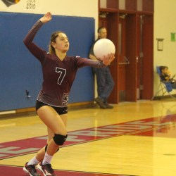 Women's varsity volleyball team plays senior night game