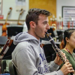 Senior Cameron Leonardi practices his clarinet, in hopes of pursuing music professionally. Leonardi started playing instruments in middle school and has continued in high school, competing in county and state competitions. Photo Illustration by Nyan Clarke