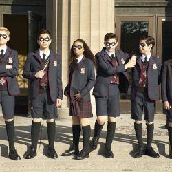Dante Albidone, Aidan Gallagher, Cameron Brodeur, Eden Cupid, Ethan Hwang, and Blake Talabis in The Umbrella Academy (Christos Kalohoridis/Netflix/TNS)