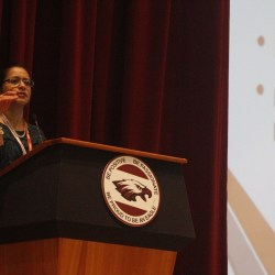 Marjory Stoneman Douglas' BRACE advisor Ana Farrand explains the importance of beginning the college admissions process as soon as possible.  Photo by Kaleela Rosenthal