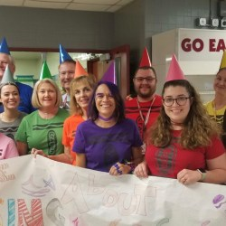 The Social Studies Department won B lunch's teacher Halloween costume contest dressed as a pack of crayons. Photo courtesy of Carla Verba