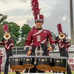 "Student musician Asher Perez performs in the 2018-2019 Eagle Regiment marching band show ""Beyond."""